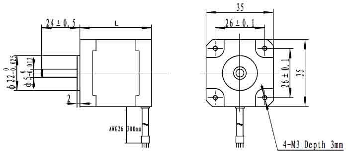 35mm两相步进电机