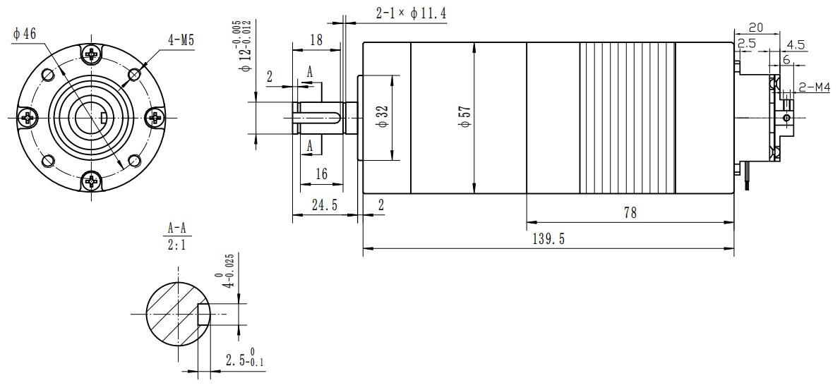 57BL63+PL+BK-行星减速无刷电机+刹车